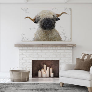 """Betty"" The Valais Blacknose Sheep (Grey Background) Canvas Print - Andy Thomas Artworks"