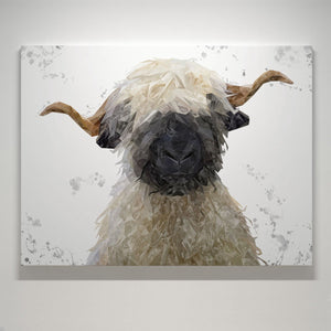 """Betty"" The Valais Blacknose Sheep (Grey Background) Medium Canvas Print - Andy Thomas Artworks"