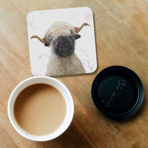 """Betty"" The Valais Blacknose Sheep (Grey Background) Coaster - Andy Thomas Artworks"