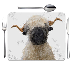 """Betty"" The Valais Blacknose Sheep (Grey Background) Placemat - Andy Thomas Artworks"