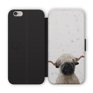 """Betty"" The Valais Blacknose Sheep (Grey Background) Flip Phone Case - Andy Thomas Artworks"