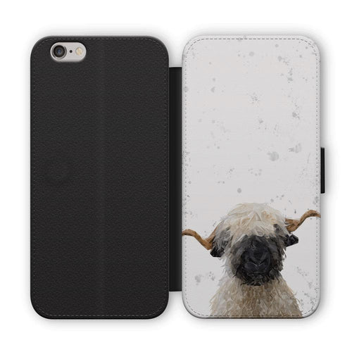 """Betty"" The Valais Blacknose Sheep (Grey Background) Flip Phone Case"