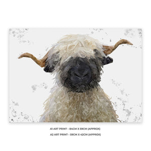 """Betty"" The Valais Blacknose Sheep (Grey Background) A2 Unframed Art Print - Andy Thomas Artworks"
