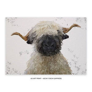 """Betty"" The Valais Blacknose Sheep (Grey Background) A3 Unframed Art Print - Andy Thomas Artworks"