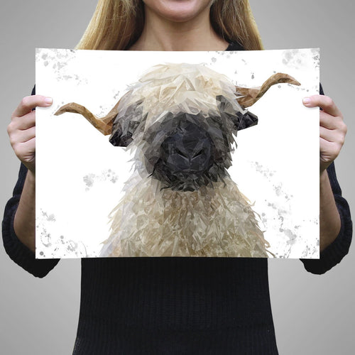 """Betty"" The Valais Blacknose Sheep (Grey Background) Unframed Art Print"