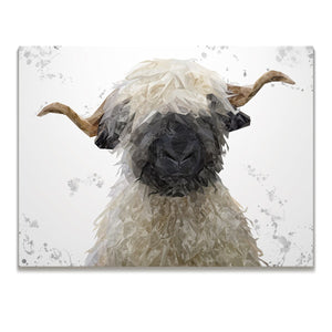 """Betty"" The Valais Blacknose Sheep (Grey Background) Skinny Canvas Print - Andy Thomas Artworks"