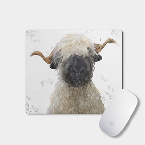 """Betty"" The Valais Blacknose Sheep (Grey Background) Mousemat - Andy Thomas Artworks"