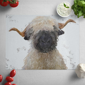 """Betty"" The Valais Blacknose Sheep (Grey Background) Glass Worktop Saver"