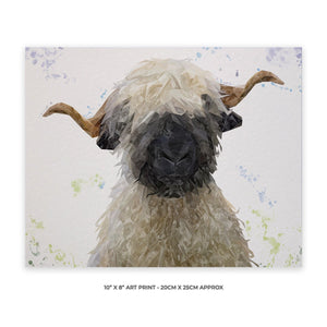 """Betty"" The Valais Blacknose Sheep 10"" x 8"" Unframed Art Print - Andy Thomas Artworks"