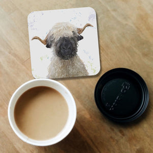 """Betty"" The Valais Blacknose Sheep Coaster - Andy Thomas Artworks"