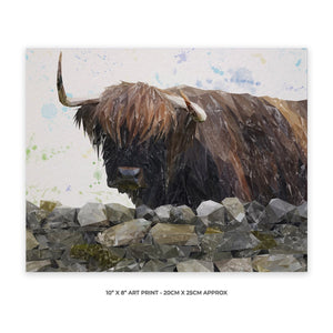 """Freya"" The Highland Cow from Applecross 10"" x 8"" Unframed Art Print - Andy Thomas Artworks"