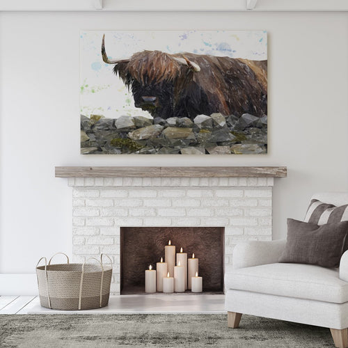 """Freya"" The Highland Cow from Applecross Massive Canvas Print"