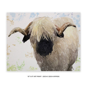"""Bertie"" The Valais Ram 10"" x 8"" Unframed Art Print - Andy Thomas Artworks"