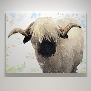 """Bertie"" The Valais Ram Large Canvas Print - Andy Thomas Artworks"