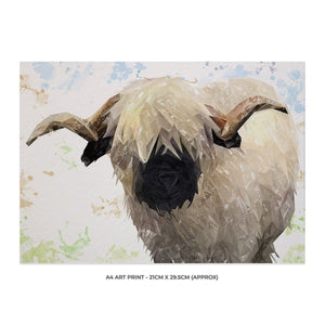 """Bertie"" The Valais Ram A4 Unframed Art Print - Andy Thomas Artworks"