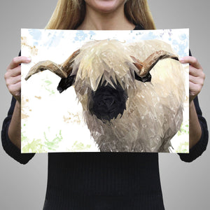 """Bertie"" The Valais Ram A3 Unframed Art Print - Andy Thomas Artworks"