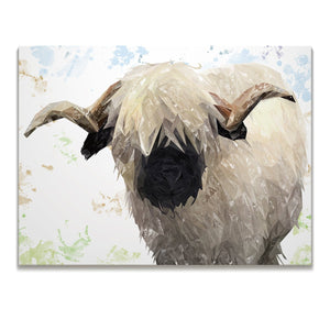"""Bertie"" The Valais Ram Skinny Canvas Print - Andy Thomas Artworks"