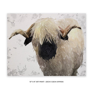 """Bertie"" The Valais Ram (Grey Background) 10"" x 8"" Unframed Art Print - Andy Thomas Artworks"
