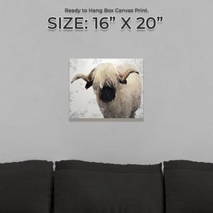 """Bertie"" The Valais Ram (Grey Background) Small Canvas Print - Andy Thomas Artworks"