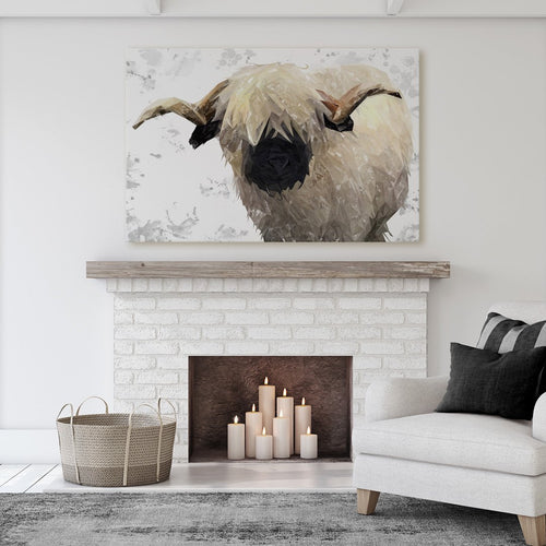 """Bertie"" The Valais Ram (Grey Background) Massive Canvas Print"