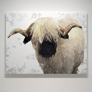 """Bertie"" The Valais Ram (Grey Background) Medium Canvas Print - Andy Thomas Artworks"