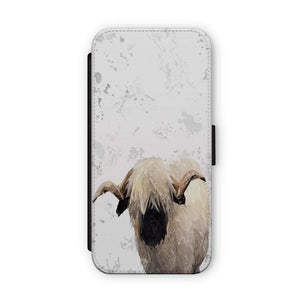 """Bertie"" The Valais Ram (Grey Background) Flip Phone Case - Andy Thomas Artworks"