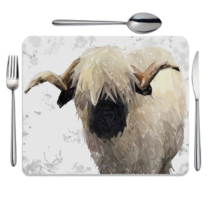 """Bertie"" The Valais Ram (Grey Background) Placemat - Andy Thomas Artworks"