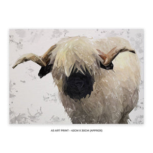 """Bertie"" The Valais Ram (Grey Background) A3 Unframed Art Print - Andy Thomas Artworks"
