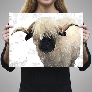 """Bertie"" The Valais Ram (Grey Background) A2 Unframed Art Print - Andy Thomas Artworks"