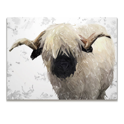 """Bertie"" The Valais Ram (Grey Background) Skinny Canvas Print"