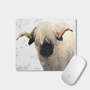 """Bertie"" The Valais Ram (Grey Background) Mousemat - Andy Thomas Artworks"