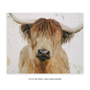 """Bernadette"" The Highland Cow 10"" x 8"" Unframed Art Print - Andy Thomas Artworks"