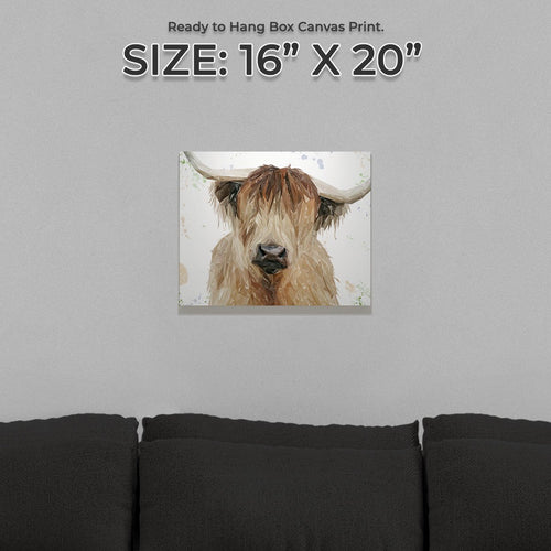 """Bernadette"" The Highland Cow Small Canvas Print"