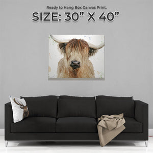 """Bernadette"" The Highland Cow Large Canvas Print - Andy Thomas Artworks"