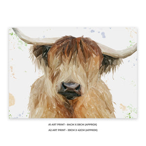 """Bernadette"" The Highland Cow A1 Unframed Art Print - Andy Thomas Artworks"