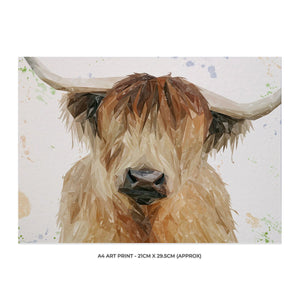 """Bernadette"" The Highland Cow A4 Unframed Art Print - Andy Thomas Artworks"