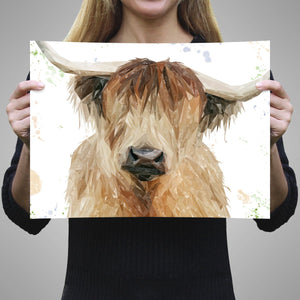 """Bernadette"" The Highland Cow A3 Unframed Art Print - Andy Thomas Artworks"