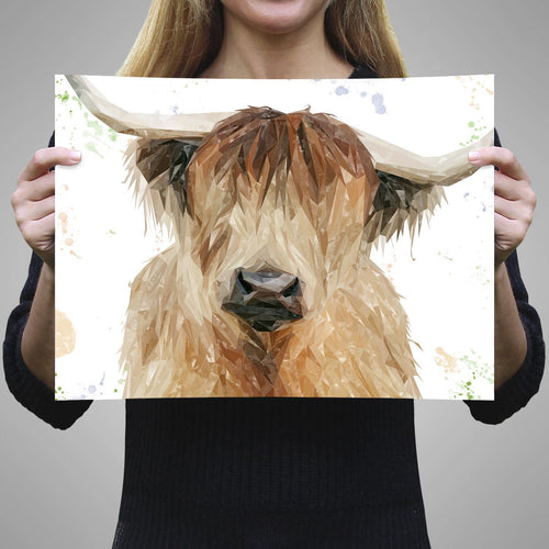 """Bernadette"" The Highland Cow A3 Unframed Art Print"
