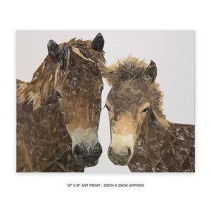 """The Exmoor Pair"" Emoor Ponies 10"" x 8"" Unframed Art Print - Andy Thomas Artworks"