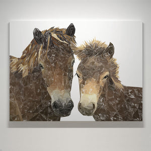 """The Exmoor Pair"" Emoor Ponies Small Canvas Print - Andy Thomas Artworks"