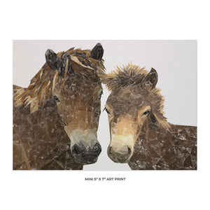 """The Exmoor Pair"" Emoor Ponies 5x7 Mini Print - Andy Thomas Artworks"