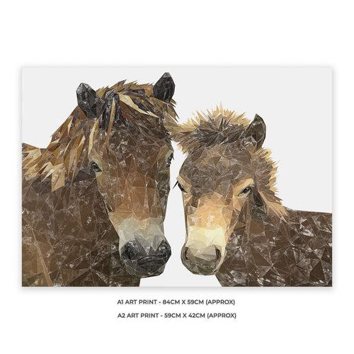 """The Exmoor Pair"" Emoor Ponies A2 Unframed Art Print"
