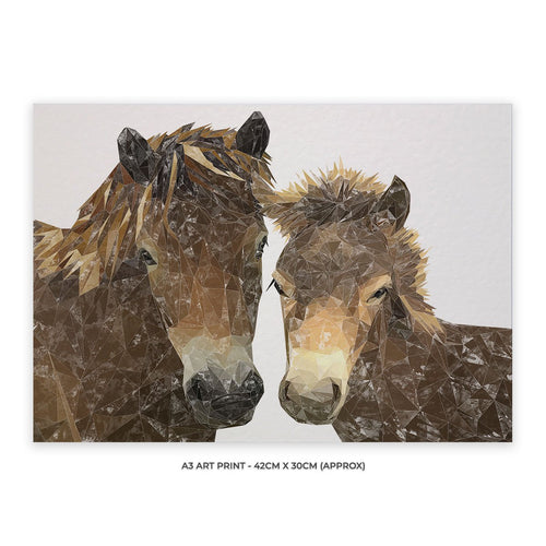 """The Exmoor Pair"" Emoor Ponies A3 Unframed Art Print"