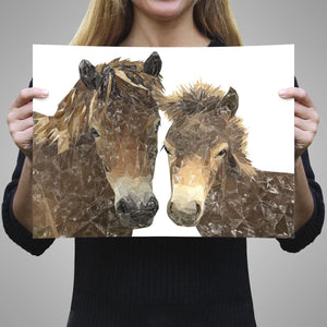"""The Exmoor Pair"" Emoor Ponies A3 Unframed Art Print - Andy Thomas Artworks"