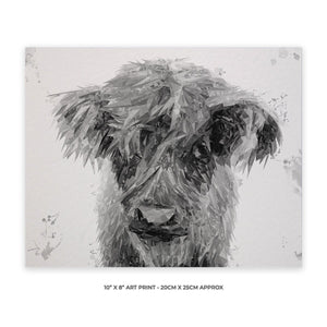 """Peeps"" The Highland Calf (B&W) 10"" x 8"" Unframed Art Print - Andy Thomas Artworks"