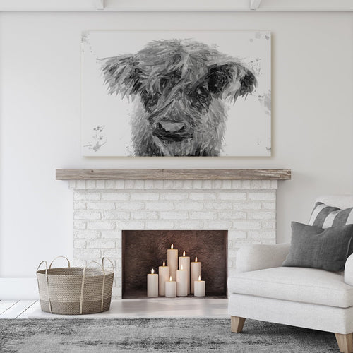 """Peeps"" The Highland Calf (B&W) Massive Canvas Print"