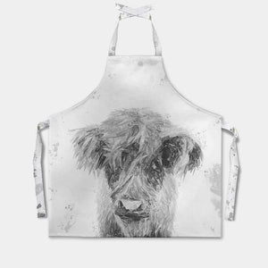 """Peeps"" The Highland Calf (B&W) Apron - Andy Thomas Artworks"