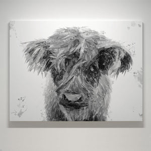 """Peeps"" The Highland Calf (B&W) Canvas Print"