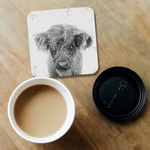 """Peeps"" The Highland Calf (B&W) Coaster - Andy Thomas Artworks"