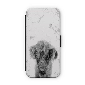 """Peeps"" The Highland Calf (B&W) Flip Phone Case - Andy Thomas Artworks"